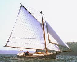 Gaff rigged yacht